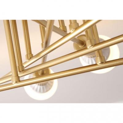 Open Bulb Linear Semi Flushmount Minimalist Metallic 6/8/10 Heads Ceiling Fixture in Gold