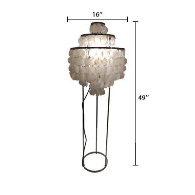 Shelly 3 Tiers Standing Light Contemporary Single Light Floor Lamp in Chrome for Living Room