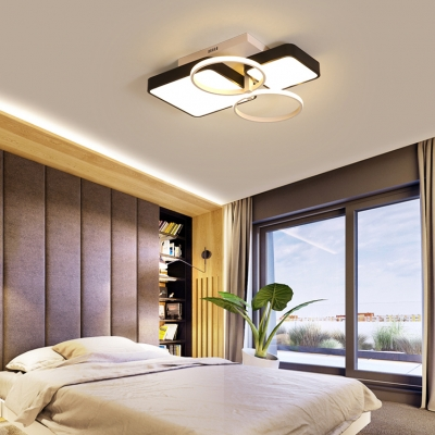 Square Acrylic Shade LED Flush Mount Light with 2 Halo Ring Modern Design Ceiling Light in Warm/White