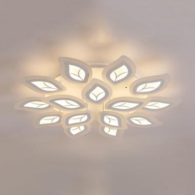 2 Tiers Leaves Semi Flush Light Fixture Modern Fashion Metal Multi Lights Indoor Lighting Fixture in White