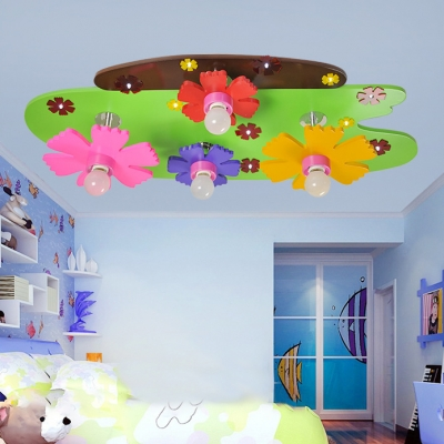 4 Heads Flower Ceiling Light Cartoon Style Kindergarten Glass Shade Flush Light in Pink
