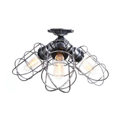 Caged Ceiling Flush Mount Rustic Antique Iron Triple Lights Semi Flush Light for Warehouse Kitchen