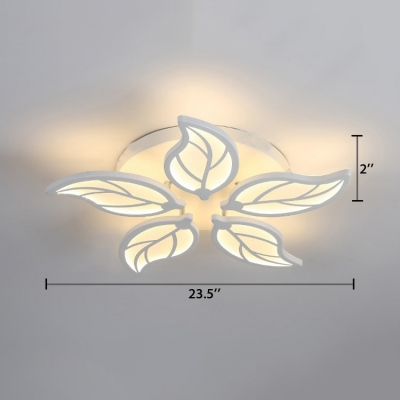 6-LED Leaf Design Semi Flush Light Nordic Style Acrylic Ceiling Flush Mount in Warm/White/Neutral