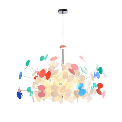 8 Bulbs Starburst Shape Suspended Light Post Modern Plastic Chandelier in Chrome for Kids