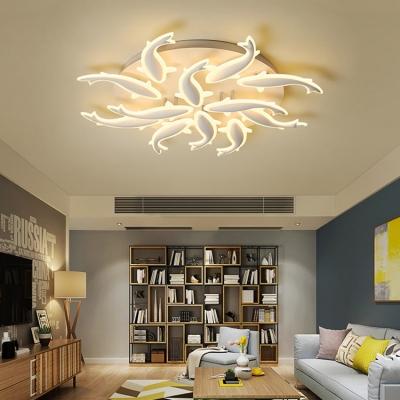 Acrylic Fish Design Semi Flush Light Modernism 9/12/15 Heads LED Ceiling Light in Warm/White/Neutral