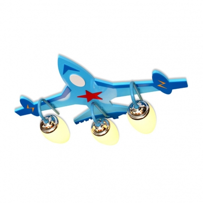Blue Airplane Flush Mount White Glass Shade Triple Lights Ceiling Fixture for Children Bedroom