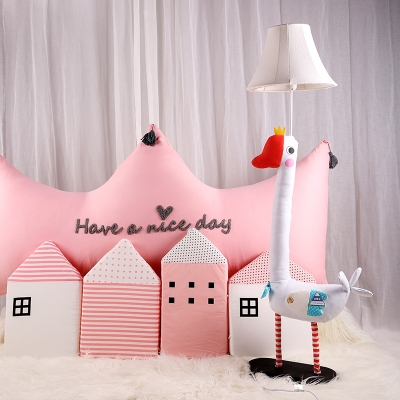 Cartoon Goose Floor Light with Bell Fabric Shade Boys Girls Room 1 Light Floor Lamp in White