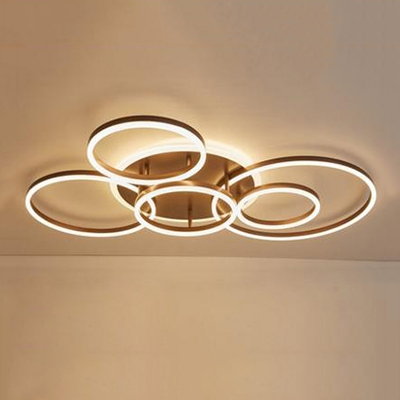 Contemporary Rings Flush Mount Light Metal 2/3/5/6 Lights LED Lighting Fixture in Coffee