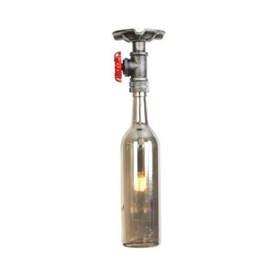 Glass Bottle Shade Ceiling Light Industrial Loft Style Single Head Semi Flush Light Fixture in Antique Silver