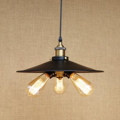 Metal Railroad Hanging Light Industrial Triple Heads Chandelier Lamp in Antique Brass, HL502333