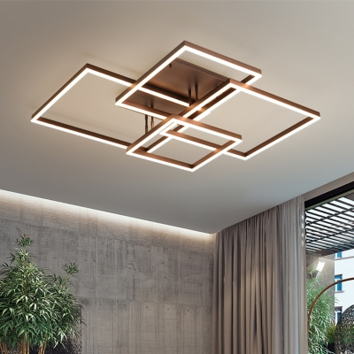 Metallic Geometric Pattern Ceiling Flush Mount Minimalist Energy Saving LED Flush Light in Brown