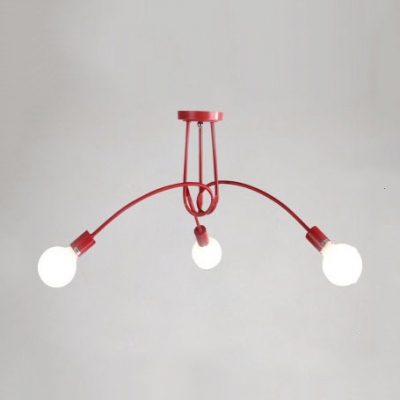 Minimalist Bare Bulb Semi Flush Light Fixture Metal 3 5 Lights Ceiling