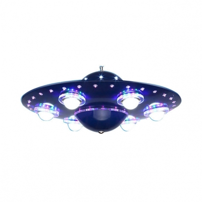 Navy Blue UFO Shape Suspended Light Metal 6 Heads Chandelier Lamp for Boys Bedroom