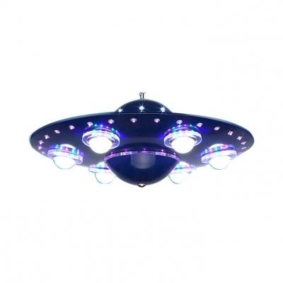 navy blue ufo shape suspended light metal 6 heads chandelier lamp for boys bedroom 155014427390