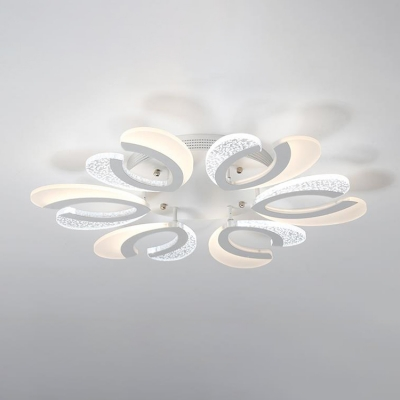 Nordic Style Ultra Thin Semi Flushmount 4/6 Lights Ceiling Lamp with White Metal Canopy