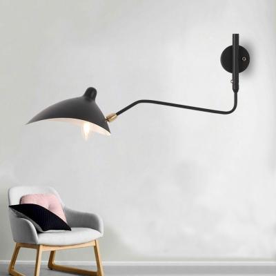 Post Modern Duckbill Wall Lamp Metallic Single Head Sconce Lighting in Black with Swing Arm