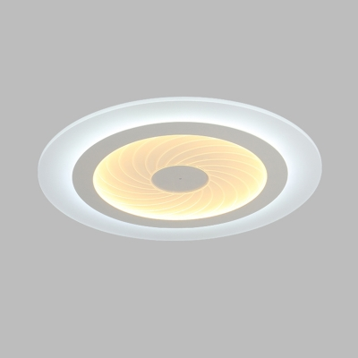 Round Disc Flush Light Fixture with Swirl Pattern Simple Concise Acrylic LED Ceiling Lamp in White
