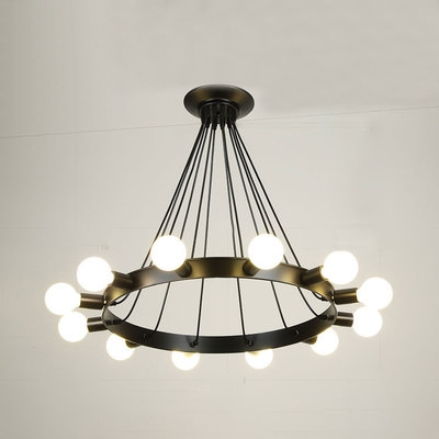 Wagon Wheel Chandelier Industrial Metallic Multi Light Hanging Ceiling Lamp in Black