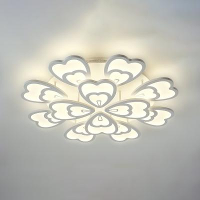 White 2 Tiers Petal LED Ceiling Light Modern Fashion Acrylic Multi Lights Semi Flush Light