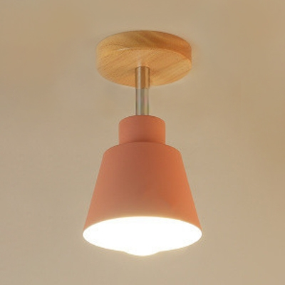 1 Light Coolie Ceiling Lamp Simple Concise Rotatable Semi Flush Mount with Gray/Green/Pink Metal Shade