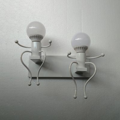 2 Lights Open Bulb Wall Mount Fixture Hallway Corridor Metallic Wall Lamp in Black/White