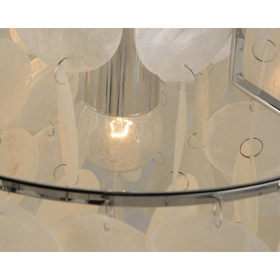 2 Tiers Ring Hanging Lamp Modernism Shelly 1 Light Art Deco Suspended Light in Silver