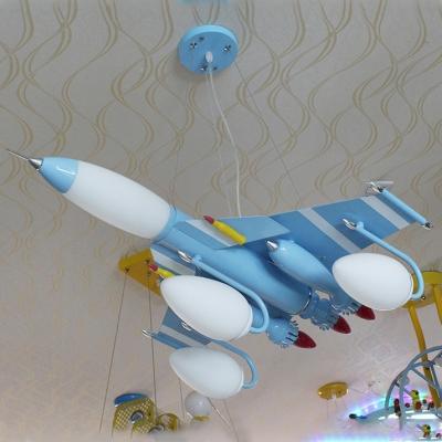 7 Lights Airplane Chandelier Light Boys Bedroom Metal Suspension Light in Sky Blue