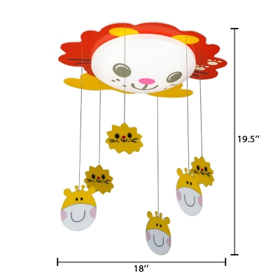 Acrylic Shade Flush Mount with Red Cartoon Cat Decorative LED Ceiling Lamp for Nursing Room