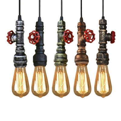 Antique Bronze Valve Pendant Light Industrial Single Light Hanging Pendant Fixture