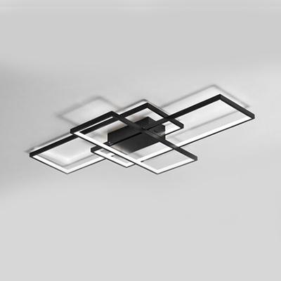 Black 3 Rectangle Frame Flush Light Nordic Style Metal LED Ceiling Light for Dining Room