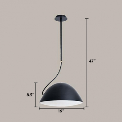 Black Dome-Shaped Hanging Lamp Nordic Style Metal Single Light Chandelier Light for Living Room