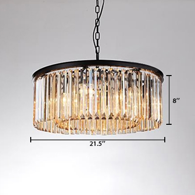 Black Finish Crystal Chandelier Modernism Metallic 6 Lights Hanging Light for Exhibition Hall