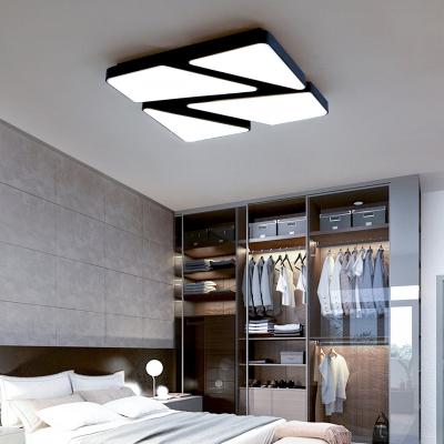 Black Geometric LED Flush Light Contemporary Metal Ceiling Lamp for Coffee Shop Corridor