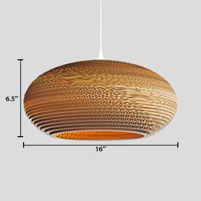 Brown Saucer Hanging Lamp Nordic Style Paper Single Head Suspension Light for Hotel Hall Corridor