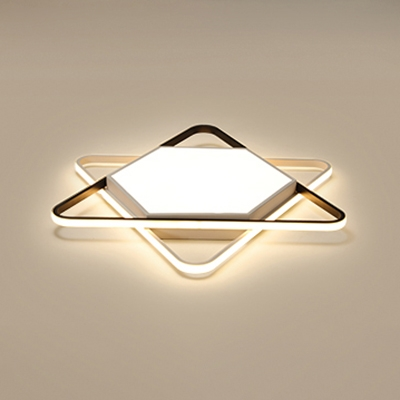 Contemporary Six Pointed Star Flush Mount With Acrylic Shade