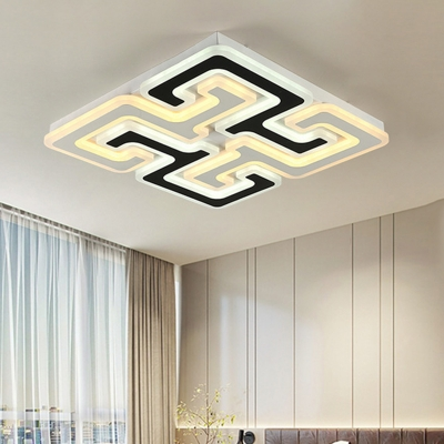 Labyrinth Design LED Flushmount with Square Nordic Style Metallic Indoor Lighting Fixture in Black and White