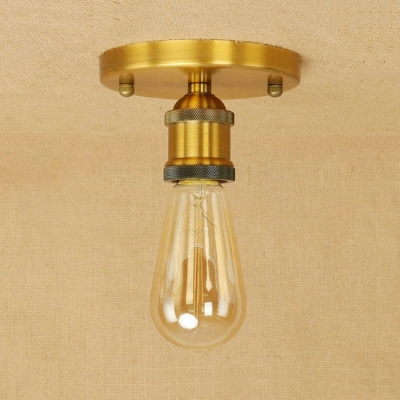 Mini Semi Flush Mount with Open Bulb Traditional Industrial Metal 1 Light Surface Mount Ceiling Light in Brass