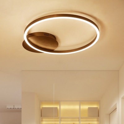 Minimalist Circular Flush Mount Light Acrylic LED Ceiling Light in Brown for Bedroom