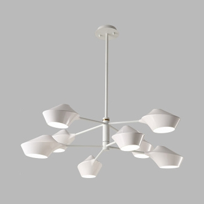 Modernism 2 Tiers Sputnik Chandelier with Plastic Shade 8 Lights Art Deco Hanging Lamp in White