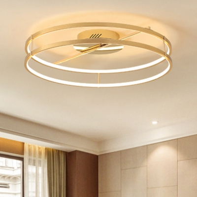 Nordic Style 2 Rings Lighting Fixture Metal Art Deco Led Semi Flush Light In Gold For Dining Room Beautifulhalo Com