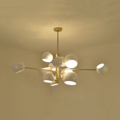 Rotatable Multi Light Ball Chandelier Modern Design Metallic Suspended Light in Gold for Sitting Room