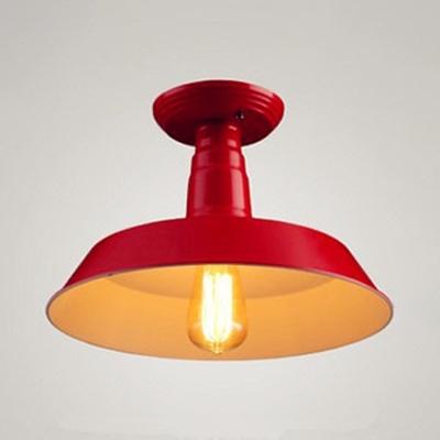 Scarlet Red Barn Ceiling Light Industrial Metal Art Deco 1 Light Semi Flush Mount Light for Coffee Shop