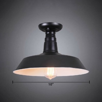 Single Light Barn Surface Mount Ceiling Light Vintage Metallic Ceiling Fixture in Black for Warehouse