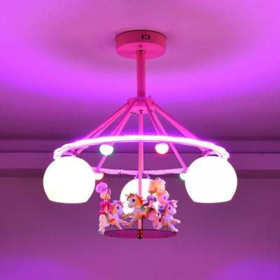 Sphere 3 Lights Semi Flush Mount with Cartoon Horse Nursing Room White Glass Shade Lighting Fixture