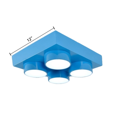 Square LED Hanging Lamp with Toy Block Colorful Metal Hanging Ceiling Lamp for Game Room