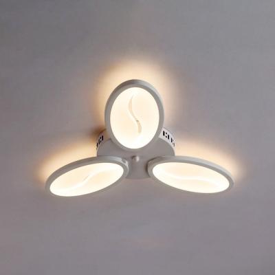 Triple Lights Oval LED Ceiling Light Minimalist Acrylic Flush Mount Light in White for Bedroom