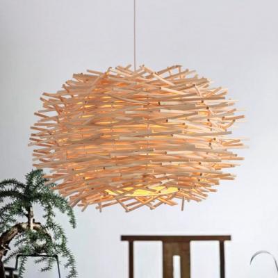 Weave Nest Design Hanging Lamp Modern Fashion Single Head Suspension Light in Wood for Foyer