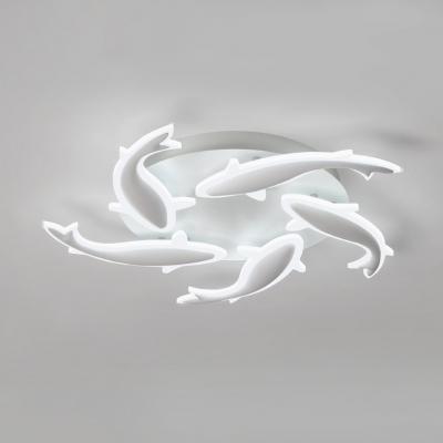 White Fish Semi Flush Light Fixture Stylish Modern Acrylic 3/5 Heads LED Ceiling Lamp for Foyer