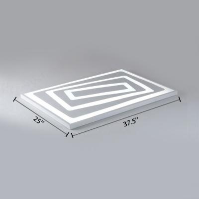 White Rectangular Ceiling Lamp Modern Chic Metal Ultra Thin LED Flush Light Fixture for Coffee Shop