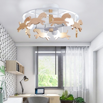 Wooden Cartoon Horse Ceiling Fixture Children Room 3 Heads Semi Flush Light in Gray/White